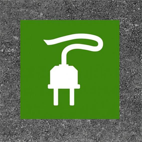 Čerpací stanice pro elektromobily / zástrčka nabíjecí stanice zelená / bílá 125 x 125 cm