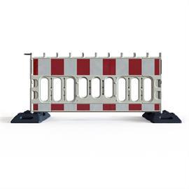 Kunststoff-Absperrgitter/Bauzaun aus PVC weiß/rot