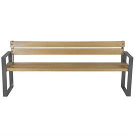 Sitzbänke mit Holzelementen