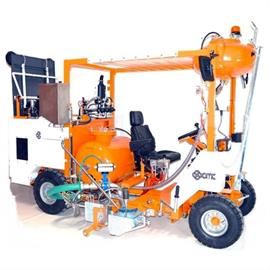 Cold plastic ride-on road marking machines
