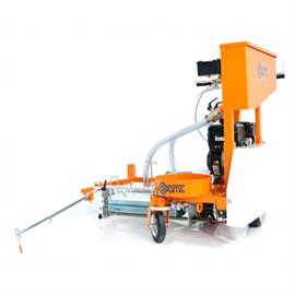 Coldplastic road marking machine with belt drive