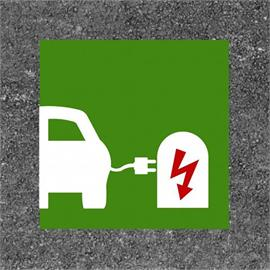 Electronic gas station/charging station green/white/red 90 x 90 cm