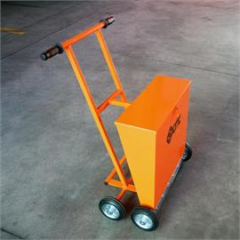 Glass beads spreading trolley