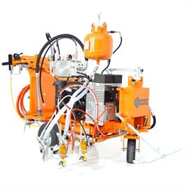 Road marking machines with hydraulic drive
