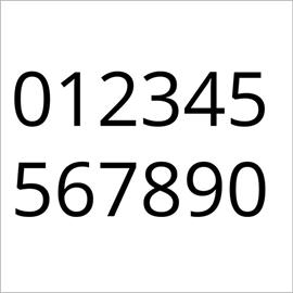 set of 10 numbers (0 - 9)