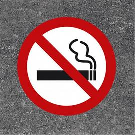 Smoking ban 55 cm floor marking red/white/black