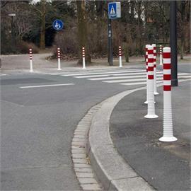 White flexible shut-off posts