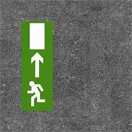 El suelo de la ruta de escape marca verde/blanco