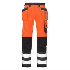 Korkean näkyvyyden työhousut, joissa on taskut, oranssit, luokka 2, koko 100.