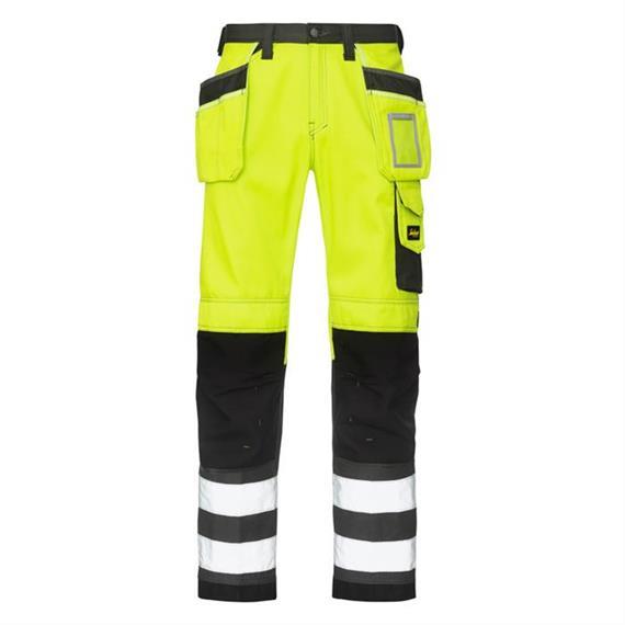 Korkean visiirin työhousut taskutaskulla, keltainen cl. 2, koko 42.