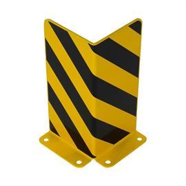 Törmäyssuojakulma keltainen, mustilla foliokaistaleilla 5 x 300 x 300 mm.