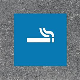 Marquage au sol de la zone fumeur par un carré bleu/blanc