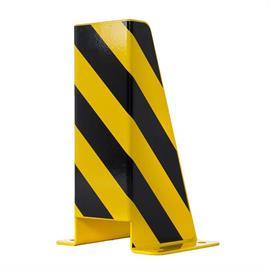 Ütközésvédelmi szög U-profil sárga, fekete fóliacsíkokkal 300 x 300 x 600 mm