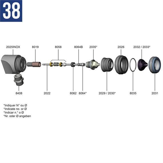 Testa a pistola completa per Mod 38 (con 2025INOX + 8018, 8046 e 8408INOX)