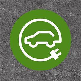 E-auto uzpildes stacija/uzlādes stacija apaļa zaļa/balta 140 x 140 cm
