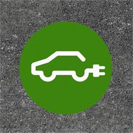 E-auto uzpildes stacija / uzlādes stacija apaļa zaļa / balta 80 x 80 cm