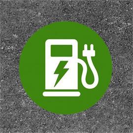 E-auto uzpildes stacija / uzlādes stacija Classic apaļa zaļa / balta 80 x 80 cm