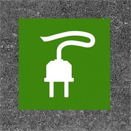E-auto uzpildes stacija / uzlādes stacijas kontaktdakša zaļa / balta 100 x 100 cm