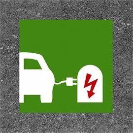 Elektronisch tankstation/laadstation groen/wit/rood 90 x 90 cm