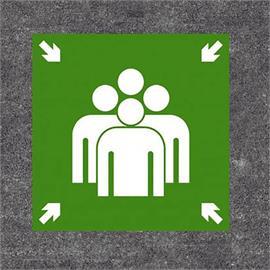 Oznaczenie podłogi punktu spotkań na zielono/biało