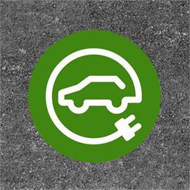 Polnilna postaja za e-avtomobile / polnilna postaja okrogla zelena / bela 80 x 80 cm