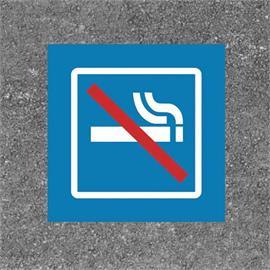 Golvmarkering för rökförbud i fyrkant blå/vit/röd