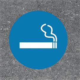 Golvmarkering för rökzon runt blå/vit